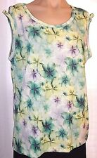New Gallery 1X Floral stretch knit scoop neck tank top shirt multicolor