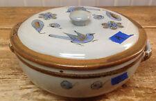 Covered Casserole Pottery Tonala El Palomar Blue KE Smaller Birds #A Lid Loose