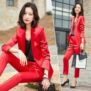 New Red Interview Blazers With Trouser Uniform Business Ladies Office Work Wear