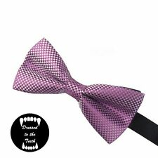 Purple Checkered Checked Bow Tie Pre-Tied Free P&P Wedding Formal Party Prom