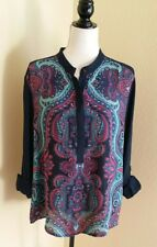 Adrianna Papell BOHO 3/4 TAB Sleeve Blouse Popover Top Blouse Size XLarge XL
