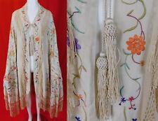 Antique Silk Embroidered Tassel Trim Manton de Manila Piano Shawl Cloak Cape Vtg