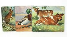 "VINTAGE Set of 3 11"" x 9"" Platt & Munk Jigsaw Puzzles, Ducks Cows Bunnies, VGUC"