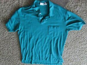 WINDRIDGE teal green Men's 2XL V neck button up polo shirt 1 pocket - EXCELLENT