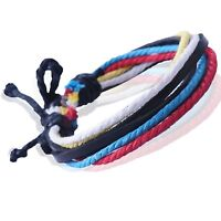 A Mens Leather and Hemp Surfer Wristband Bangle Bracelet  UK092A