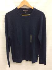 Michael Kors Men's Textured Linen-Blend Sweater Long Sleeve, Midnight, L  $148
