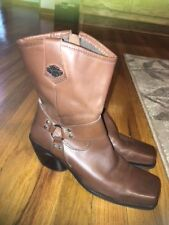 Harley Davidson Women's Boots Size 7.5 Harness Brown Leather Zip Square Toe