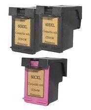 Printenviro 3x HP 60XL Black CC641W & Color CC644W  Reman Ink Cartridges D2560