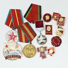 Lot of Vintage Russia USSR Soviet CCCP Pin Medal Lenin Badge WWII Anniversary