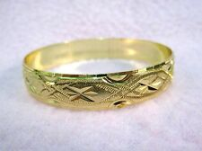 BABY INFANT TODDLER GOLD PLATED PATTERNED BANGLE BRACELET CHILDRENS JEWELRY