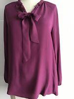 Lucky Brand Women's Purple Longsleeve Silk Bow Blouse Size XS