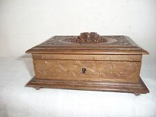 ANTIQUE CLASSIC BLACK FOREST BOX CARVED FLOWERS, LEAVES AND GRAPES of NICE SHAPE
