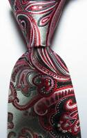 New Classic Paisley Gray Black Red White JACQUARD WOVEN Silk Men's Tie Necktie