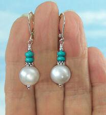 Ohrringe echte  Perlen in Weiß mit Türkis, Silber Ohrhänger