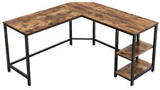 VASAGLE Computer Home Office L-Shaped Study Desk Writing Workstation Shelf Wood