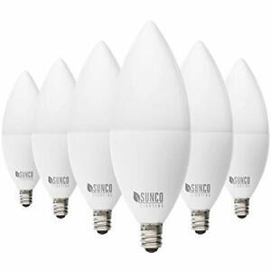 Sunco Lighting 6 Pack B11 LED Candelabra Bulb Dusk-to-Dawn 5W=40W 5000K Dayli...