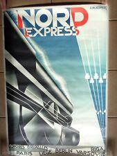 AFFICHE CASSANDRE 1927 CHEMIN DE FER NORD EXPRESS REEDITION 1980 POUR H.MOURON