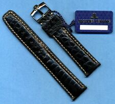 GENUINE OMEGA STEEL BUCKLE TANG &  GENUINE ALLIGATOR STRAP BAND 20mm LEATHER LIN