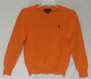 POLO RALPH LAUREN Kids Boys Orange Cotton Crewneck Sweater Size Medium (10-12)