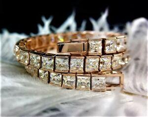 8.5 CT Princess Cut Forever Brilliant Moissanite Bracelet 10K Rose Gold Bracelet