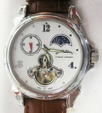 """WRISTWATCH, STEEL COLOR, AUTOMATIC MOVEMENT, MOON PHASE, """"MOUNT ROYAL"""" NEW&MINT"""
