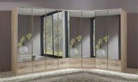 Qmax 'Imagine' Range. German Made Bedroom Furniture. Light Oak & Mirrored.