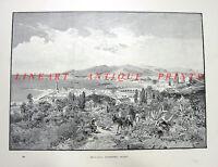 Mediterranean Costa Del Sol Andalusia Port MALAGA SPAIN, Old Art Print Engraving