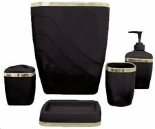 Bathroom Bath Accessory Set 5 Piece Toothbrush Holder Soap Dispenser Wastebasket