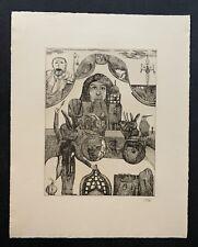 Pit Morell, Begrüßung der Kaninchen, Radierung, 1967, handsigniert
