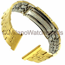 22mm Hadley Roma Micron Plate Gold Tone Mens Metal Straight End Watch Band