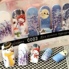 Christmas nail wraps decal full nail art decoration stickers snowman design C003