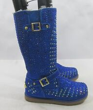 Urban Glitter Blue Rhinestones Winter Knee Cute Boot Kid Size 1
