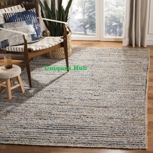 Rug 100% Natural jute and denim 2x10 feet modern living area carpet runner rugs