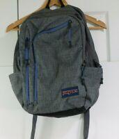 Jansport Backpack Grey & Blue Commuter Student Travel - 18.3 x 11.4 x 6.3