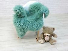 Véritable Mouton Cheveux Bouclés Tapis Moelleux Tapis Aqua Turquoise Couleur #