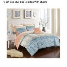 8 Piece Full Size Comforter Set Peach Bedspread Sheets Blue Bedding Pillow Cases