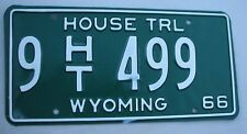 """WYOMING 1966 HOUSE TRAILER LICENSE PLATE """" 9 HT 499 """"  LOW NO. WY WYO 66"""