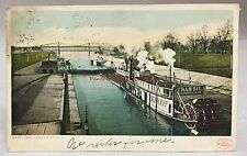 1908 Postcard Canal Locks Transit Steamship Louisville Kentucky Ky Pc