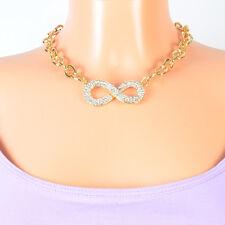 Love Halskette Infinity Farbe Gold Statement Collier Unendlichkeit Ewige Liebe
