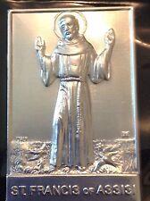 St FRANCIS Silver Metal Saint Plaque Folder Pocket Catholic SHRINE Travel 2.5x4