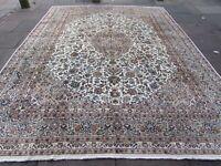Vintage Worn Old Traditional Hand Made Rug Oriental White Wool Carpet 377x290cm