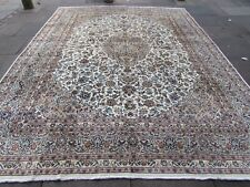 Vintage Worn Old Traditional Hand Made Rug Oriental White Wool Carpet 377x290cm