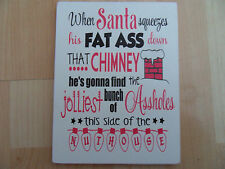 Shabby Christmas Santa Chimney plaque/sign, chic and unique