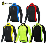 Mens Long Sleeve Cycling Jersey Top Full Zip Breathable Lightweight Reflective