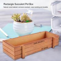 Vintage Wooden Flower Planter Succulent Pot Rectangle Trough Box Storage Tray M