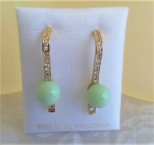 DROP ZIRCON MAJORCA/MALLORCA PEARL EARRING GREEN OPAL MAJORCA PEARLS GOLD FILLED