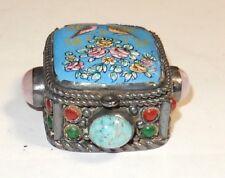 Rare Yaminoff Enamel Hand Made Silver Opal & Rose Quartz Israel Trinket Box