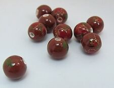 "PACK 10 CERAMIC BEADS BROWN WITH PRETTY  DETAIL ""CHOCCO"" 10mm"