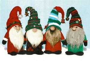 """Cloth Folk Art Doll Pattern """"Gnome for the Holidays"""" By Ginny Lettorale"""