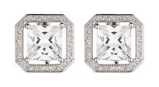 CLIP ON EARRINGS - luxury silver stud earring with a Cubic Zirconia stone - Neci